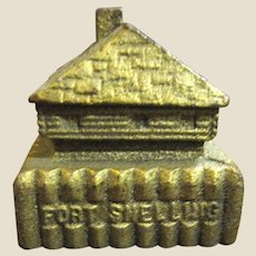 1930s Cast Iron Fort Snelling Wooden Outpost Paperweight