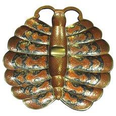 Mid Century Enamelled Brass Asian Butterfly Cigar Ashtray, Near Mint