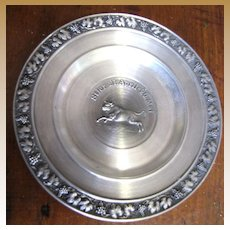 Vintage German Pewter Coaster with Taurus Zodiac Sign