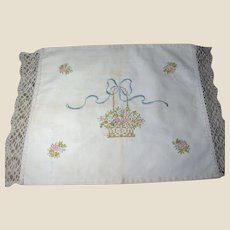 Gently Shabby Hand Embroidered Vintage Pillow Case