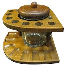 "Art Deco 7 Hole Wooden ""Corner"" Pipe Rack & Glass Humidor"