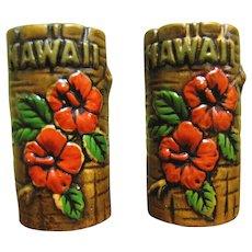 Vintage Orchids of Hawaii Tiki Salt & Pepper Shaker Set, Japan