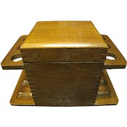 Vintage Oak Pipe Stand For 6 Pipes With Humidor & Aztec Humidity Block