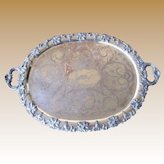 """Huge  28"""" Antique Silver on Copper Butlers Tray"""