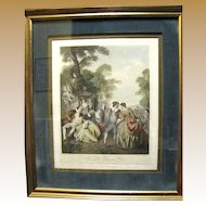 """Original """"La Danse"""" Engraving by Franz Hafstaengl after Jean Baptiste Joseph Pater"""