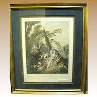 """Original """"L'escarpolette"""" Engraving by Franz Hafstaengl after Jean Baptiste Joseph Pater"""