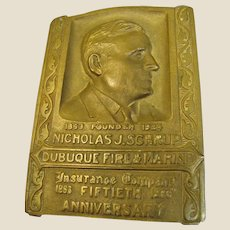 1933, Dubuque Fire & Marine Insurance 50th Anniversary Solid Brass Engraved Paperweight
