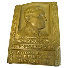 1933, Dubuque Fire & Marine Insurance 50th Anniversary Solid Brass Engraved Paperweight‏