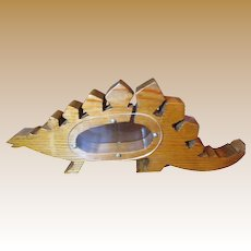 Fun Hand Made Stegosaurus Wooden Money Bank