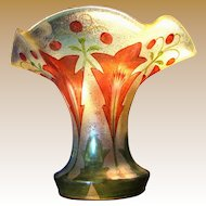 Exceptional Art Nouveau Hand Painted Vase, Beautiful Form!