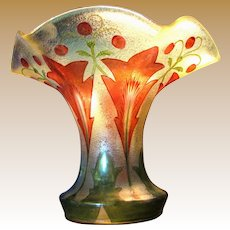 Exceptional Art Nouveau Hand Painted Vase, Beautiful Form!