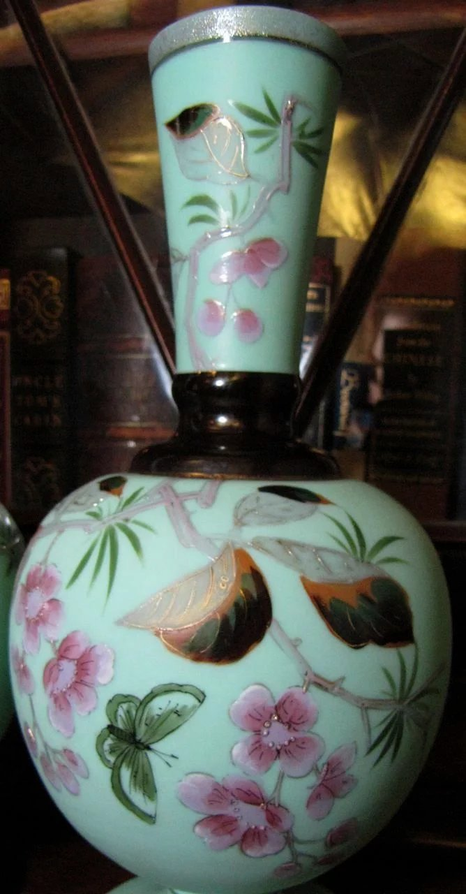 Pair Victorian Bristol Glass Mantle Vases Hand Painted