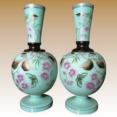 Pair Victorian Bristol Glass Mantle Vases,Hand Painted Decoration