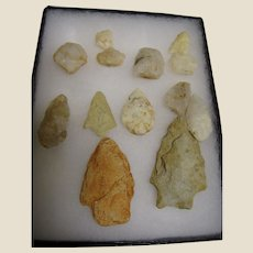 13 Santee Indian Spear/Arrow Heads Found Around Lake Marion S.C.‏
