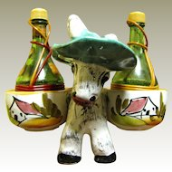 Pottery Donkey with Large Wine Bottle Shakers, Fun!