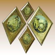 Circa 1950's Set of 4 Roman Ruin Prints in Florentine Frames