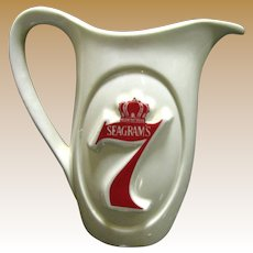 Vintage Seagrams Seven Crown Ceramic Water for Whiskey Pitcher