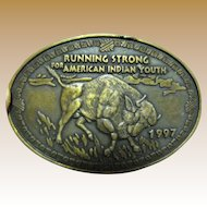 Running Strong For American Indian Youth, Buffalo Oval Metal Belt Buckle