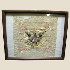 Framed WWI US France Embroidered Silk Souvenir