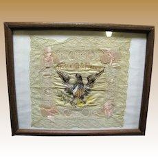 Framed WWI US France Embroidered Silk Souvenir