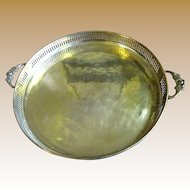 "Solid Brass 14"" Galleried Tray with Floral Handles"