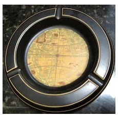 Sophisticated Antique Map Design Ashtray, Italian for Haygill Imports