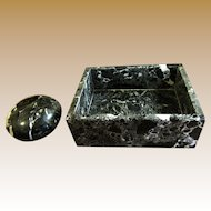 Elegant Japanese Marble Desk Box & Paperweight