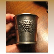 German Pewter Grape Design Spirit Measure, Nice!