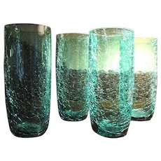 4 Vintage Turquoise Crackle Glass Tumblers, Cool!