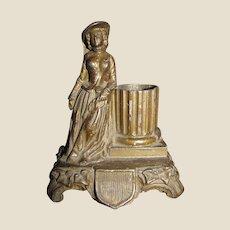 Antique Bronze Figural Match Holder w/ Safe Striker Vesta c1880's