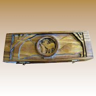 Wood Darts Box with Deer Design, Hand Made, Nice!