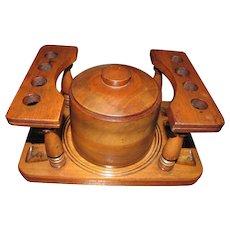Art Deco Oak 8 Pipe Holder Rack with Humidor