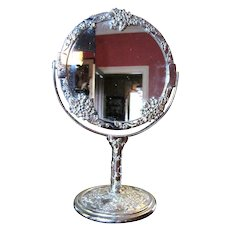 Sweet Two Sided Silver Plated Vanity Mirror