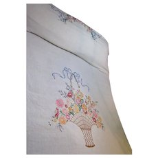 Lovely Vintage Hand Embroidered Bouquet Coverlet