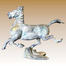 Huge Chinese Bronze Running Horse Sculpture