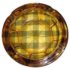 Large Mid Century Amber Glass Cigar Cigarette Ashtray