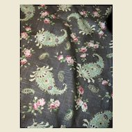 2 Yds   of Distressed Mocca 14 Color Screen Printed Linen Paisley