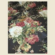 4 1/2 Yd Bolt End of 15 Color Screen Printed Botanical Linen Union
