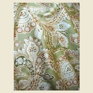 3 1/2 yds Sophisticated Sage Green Paisely with Gilt Accents