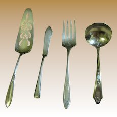4 Misc. Vintage Silver Plated Servers, Cake Slice, Meat Fork, Sauce Spoon & Butter Knife‏