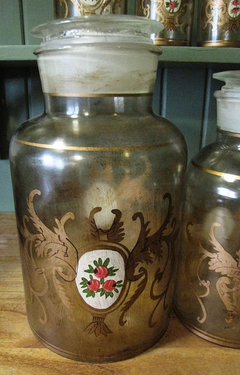 Rare Set Of Hand Blown Hand Painted Glass Apothecary Jars