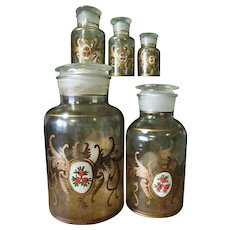 Rare Set of Hand Blown, Hand Painted Glass Apothecary Jars, Kitchen Storage Jars