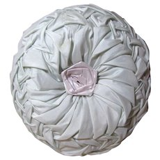 Blue Taffeta Gathered Ruched Pillow w/ Pink Rose Embellishment