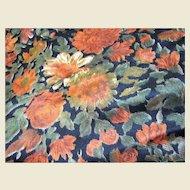 "58"" Remnant of Unusual Vintage Retro Flower Fabric"