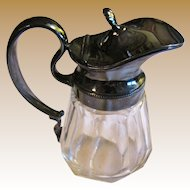Charming Silverplate and Lead Glass Antique Syrup Pitcher