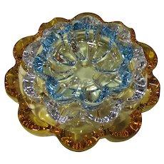 "Stacking Set of Three ""Flower"" Glass Ashtrays, Beautiful & Rare"