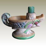 Great Czechoslovakian Espaxa Art Pottery Candle Holder