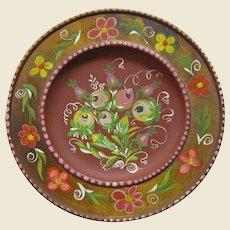 """German Folk Art 9 1/2"""" Hand Painted Wooden Plate"""