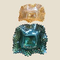 Pair Square Candy Dishes, Ruffled Edges, Diamond Design!