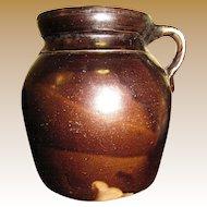 1800's, Edgefield Stoneware Storage Jar Alkaline Glaze